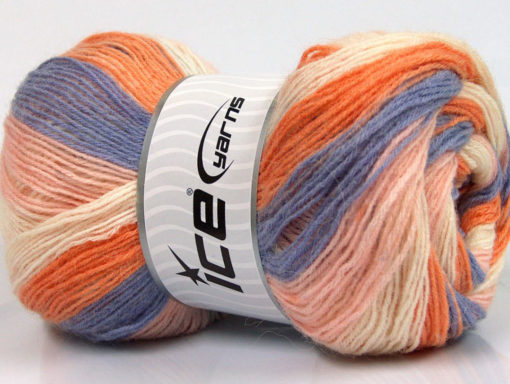Lot of 4 x 100gr Skeins Ice Yarns ANGORA PRINT (20% Angora 20% Wool) Yarn Lilac Orange Light Pink Cream