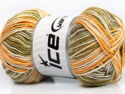 Lot of 4 x 100gr Skeins Ice Yarns BABY COTTON PRINT (50% Cotton) Yarn Green Camel Yellow Cream