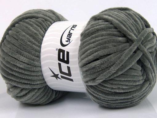 Lot of 4 x 100gr Skeins Ice Yarns CHENILLE BABY (100% MicroFiber) Yarn Grey