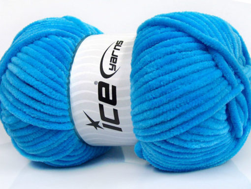 Lot of 4 x 100gr Skeins Ice Yarns CHENILLE BABY (100% MicroFiber) Yarn Blue