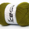 Lot of 4 x 100gr Skeins Ice Yarns DORA Hand Knitting Yarn Olive Green