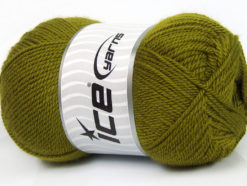 Lot of 4 x 100gr Skeins Ice Yarns DORA Hand Knitting Yarn Olive Green