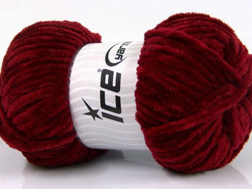 Lot of 4 x 100gr Skeins Ice Yarns CHENILLE BABY (100% MicroFiber) Yarn Burgundy