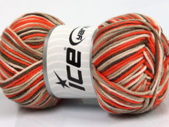 Lot of 4 x 100gr Skeins Ice Yarns PLAID COTTON (100% Cotton) Yarn Orange Brown Light Camel Cream