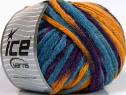 Lot of 4 x 100gr Skeins Ice Yarns PAINT BALL (50% Wool) Yarn Purple Blue Gold