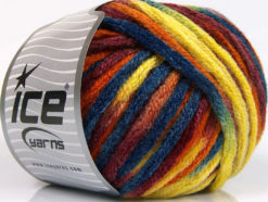 Lot of 4 x 100gr Skeins Ice Yarns PAINT BALL (50% Wool) Yarn Blue Yellow Orange Burgundy