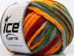 Lot of 4 x 100gr Skeins Ice Yarns PAINT BALL (50% Wool) Yarn Burgundy Gold Green Grey
