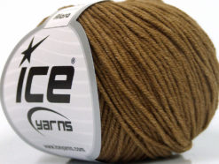 Lot of 8 Skeins Ice Yarns ALARA (50% Cotton) Hand Knitting Yarn Light Brown