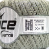 Lot of 6 Skeins Ice Yarns DAPHNE COTTON METALLIC (96% Mercerized Cotton) Yarn Light Grey Silver