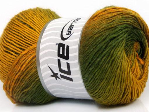 Lot of 4 x 100gr Skeins Ice Yarns PRIMADONNA (50% Wool) Yarn Green Shades Gold
