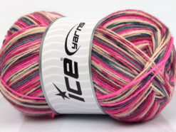 Lot of 4 x 100gr Skeins Ice Yarns DESIGN SOCK (75% Superwash Wool) Yarn Pink Grey Burgundy Beige