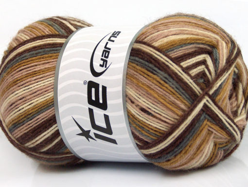 Lot of 4 x 100gr Skeins Ice Yarns DESIGN SOCK (75% Superwash Wool) Yarn Brown Shades Grey Cream