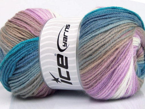 Lot of 4 x 100gr Skeins Ice Yarns MAGIC LIGHT Yarn Blue Shades Lilac White Beige