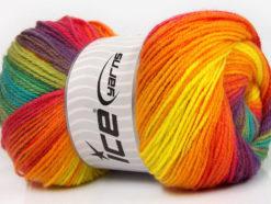 Lot of 4 x 100gr Skeins Ice Yarns MAGIC LIGHT Hand Knitting Yarn Rainbow