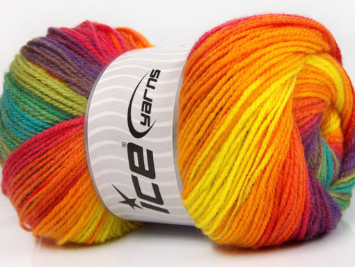 Lot of 4 x 100gr Skeins Ice Yarns MAGIC LIGHT Hand Knitting Yarn Rainbow