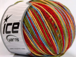 Lot of 8 Skeins Ice Yarns WOOL DK COLOR (50% Wool) Yarn Red Yellow Green Blue