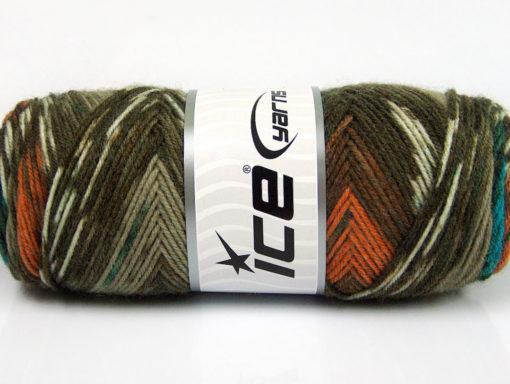 Lot of 4 x 100gr Skeins Ice Yarns BONITO ETHNIC (50% Wool) Yarn Khaki Shades Brown Orange Turquoise