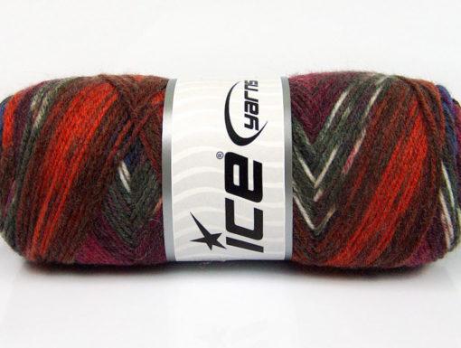 Lot of 4 x 100gr Skeins Ice Yarns BONITO ETHNIC (50% Wool) Yarn Blue Burgundy Copper Grey Shades White