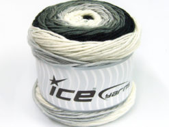 Lot of 2 x 200gr Skeins Ice Yarns CAKES ARAN Yarn Black Grey White