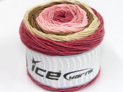 Lot of 2 x 200gr Skeins Ice Yarns CAKES ARAN Yarn Orchid Pink Beige Camel