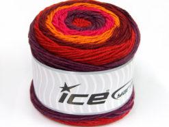 Lot of 2 x 200gr Skeins Ice Yarns CAKES ARAN Yarn Burgundy Orange Pink Maroon Red