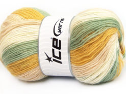 Lot of 4 x 100gr Skeins Ice Yarns ANGORA PRINT (20% Angora 20% Wool) Yarn Green Gold Light Pink Cream