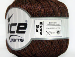 Lot of 6 Skeins Ice Yarns VISCOSE STAR (85% Viscose) Yarn Dark Brown