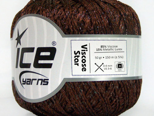 Lot of 6 Skeins Ice Yarns VISCOSE STAR (85% Viscose) Yarn Dark Brown