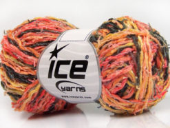 Lot of 8 Skeins Ice Yarns PALERMO COTONE (35% Cotton) Yarn Salmon Black Orange Gold