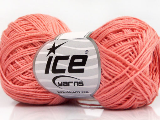 Lot of 8 Skeins Ice Yarns NATURAL COTTON FINE (100% Cotton) Yarn Salmon