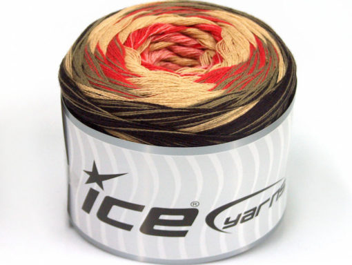 Lot of 2 x 150gr Skeins Ice Yarns CAKES STRIPES (50% Cotton) Yarn Brown Camel Beige Salmon Pink