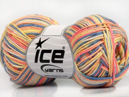 Lot of 8 Skeins Ice Yarns RIMINI COLOR Hand Knitting Yarn Salmon Yellow Blue
