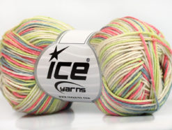 Lot of 8 Skeins Ice Yarns RIMINI COLOR Yarn Pink Green Cream Blue