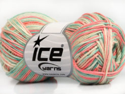 Lot of 8 Skeins Ice Yarns RIMINI COLOR Yarn Salmon Turquoise Cream