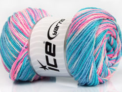 Lot of 4 x 100gr Skeins Ice Yarns DREAM Yarn Turquoise Shades Pink Shades