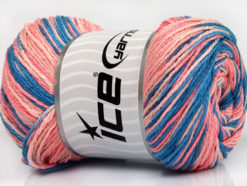 Lot of 4 x 100gr Skeins Ice Yarns DREAM Yarn Blue Shades Salmon Shades
