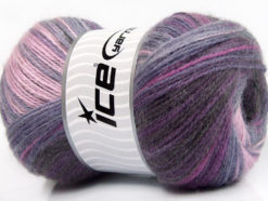 Lot of 4 x 100gr Skeins Ice Yarns ANGORA ACTIVE (25% Angora) Yarn Purple Shades Lilac Pink