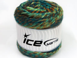 Lot of 2 x 200gr Skeins Ice Yarns CAKES WOOL CHUNKY COLORS (30% Wool) Yarn Green Shades Turquoise Brown Shades