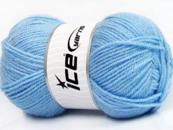 Lot of 4 x 100gr Skeins Ice Yarns FAVOURITE WOOL (50% Wool) Yarn Light Blue