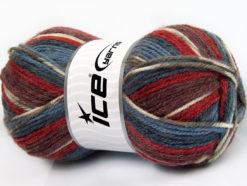 Lot of 4 x 100gr Skeins Ice Yarns JACQUARD (50% Wool) Yarn Blue Shades Red Burgundy Khaki