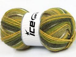 Lot of 4 x 100gr Skeins Ice Yarns JACQUARD (50% Wool) Yarn Green Shades