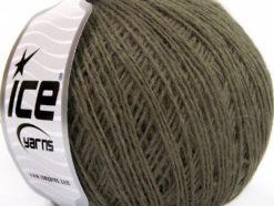 Lot of 8 Skeins Ice Yarns WOOL FINE (50% Wool) Hand Knitting Yarn Dark Khaki