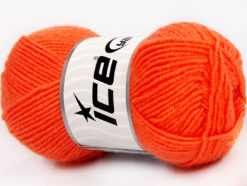 Lot of 8 Skeins Ice Yarns BABY WOOL (40% Wool) Hand Knitting Yarn Orange