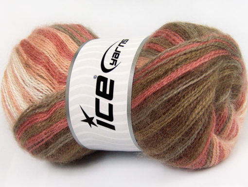 Lot of 4 x 100gr Skeins Ice Yarns MOHAIR ACTIVE (50% Mohair) Yarn Brown Shades Salmon Shades White