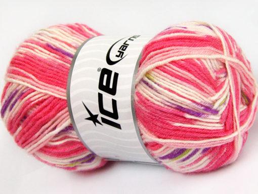 Lot of 4 x 100gr Skeins Ice Yarns BABY WOOL DESIGN (25% Wool) Yarn Pink White