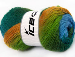 Lot of 4 x 100gr Skeins Ice Yarns ALPACA ACTIVE (20% Alpaca 20% Wool) Yarn Turquoise Blue Green Shades Gold