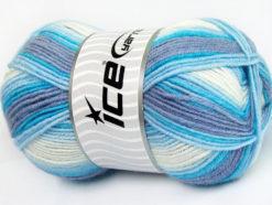 Lot of 4 x 100gr Skeins Ice Yarns BABY WOOL DESIGN (25% Wool) Yarn Blue Lilac White
