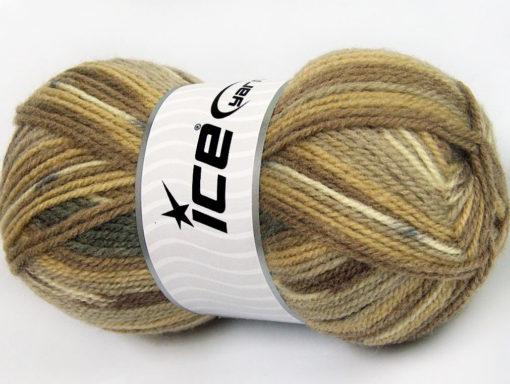 Lot of 4 x 100gr Skeins Ice Yarns JACQUARD (50% Wool) Yarn Brown Shades Cream Grey