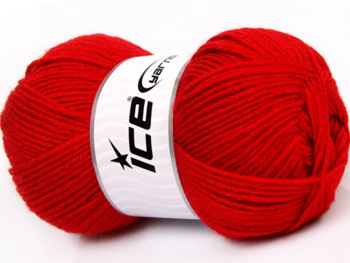 Lot of 4 x 100gr Skeins Ice Yarns FAVOURITE WOOL (50% Wool) Yarn Red