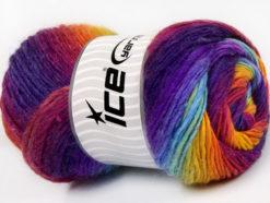 Lot of 4 x 100gr Skeins Ice Yarns LANA BELLA (30% Wool) Yarn Purple Turquoise Yellow Fuchsia